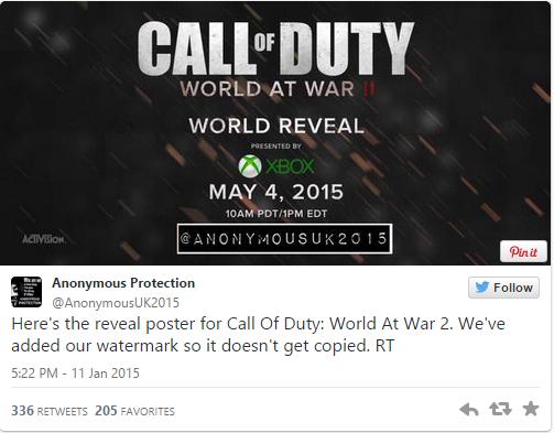 إشاعة : الكشف عن Call Of Duty World At War II في 4 ماي 2015