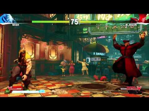Street Fighter V: Nash VS M.Bison (مباراة كاملة)